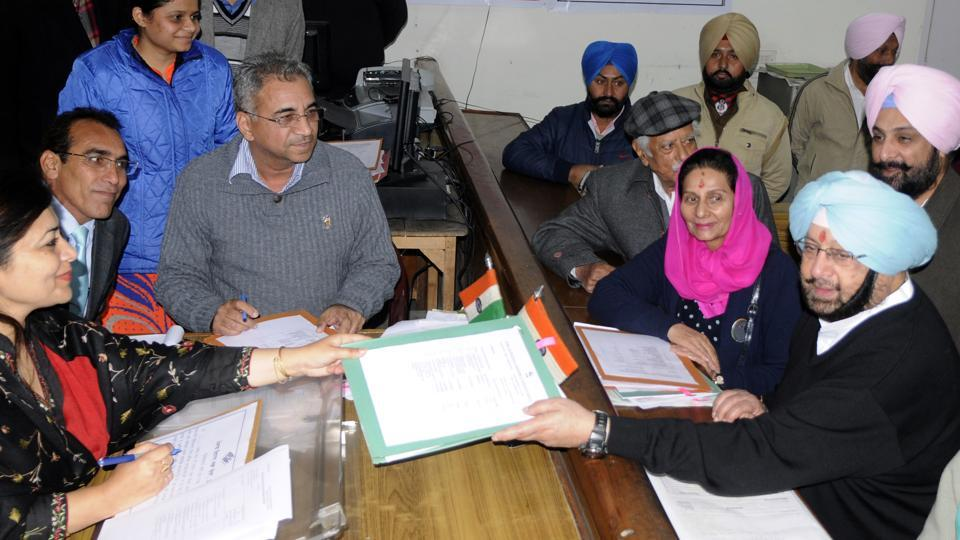 Captain Amarinder Singh filing his nomination papers from the Patiala constituency for February 4 Punjab polls, on Tuesday .