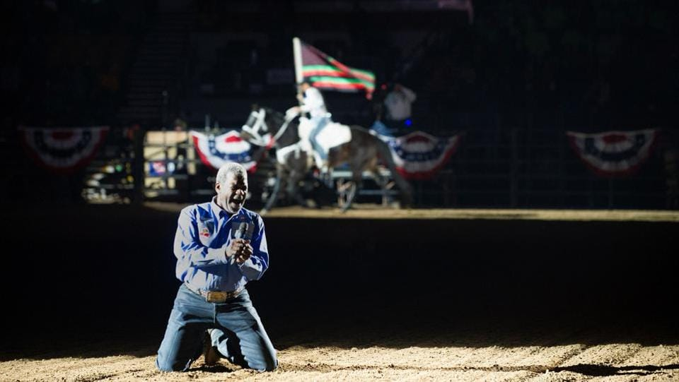 Singer Howard Johnson performs the Black American National Anthem at the beginning of the MLK Jr. African American Heritage Rodeo at the National Western Stock Show in Denver.  (Jason Connolly/AFP)