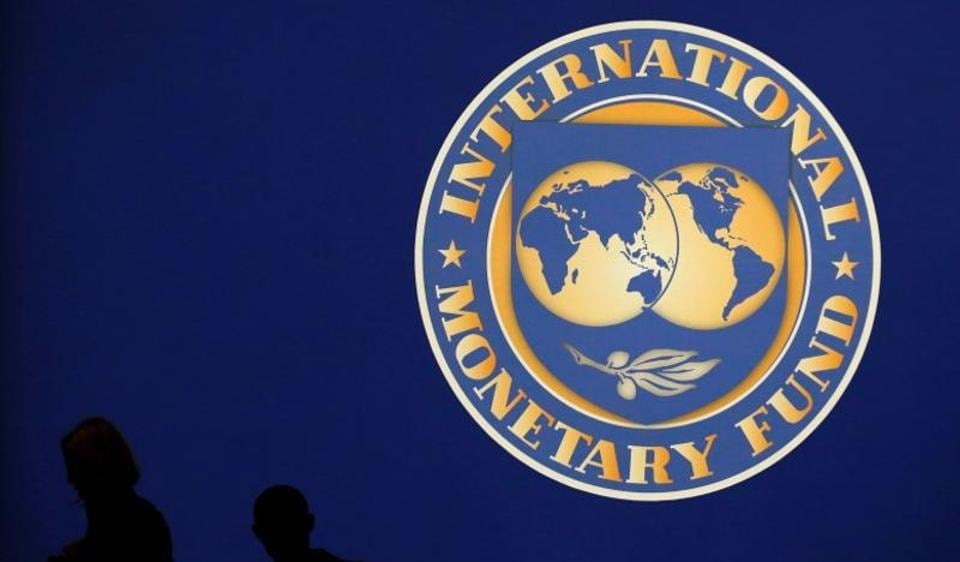 The logo of the International Monetary Fund at an event in Tokyo.