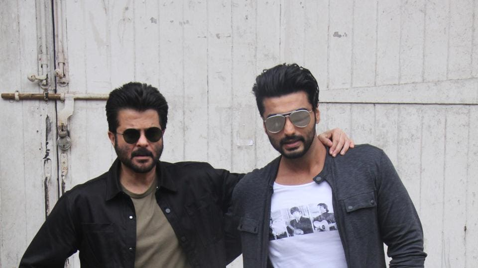 Anil Kapoor and Arjun Kapoor on the sets of  a  TV show at Mehboob Studio.