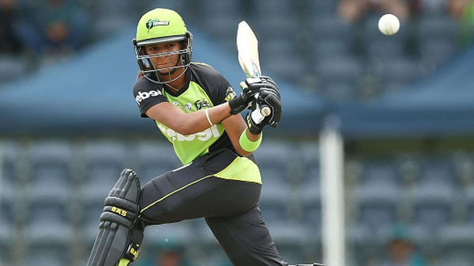 Sydney Thunder's Harmanpreet Kaur has been charged for breaching the Cricket Australia Code of Conduct during her side's Women's Big Bash League match against the Hobart Hurricanes in Hobart.