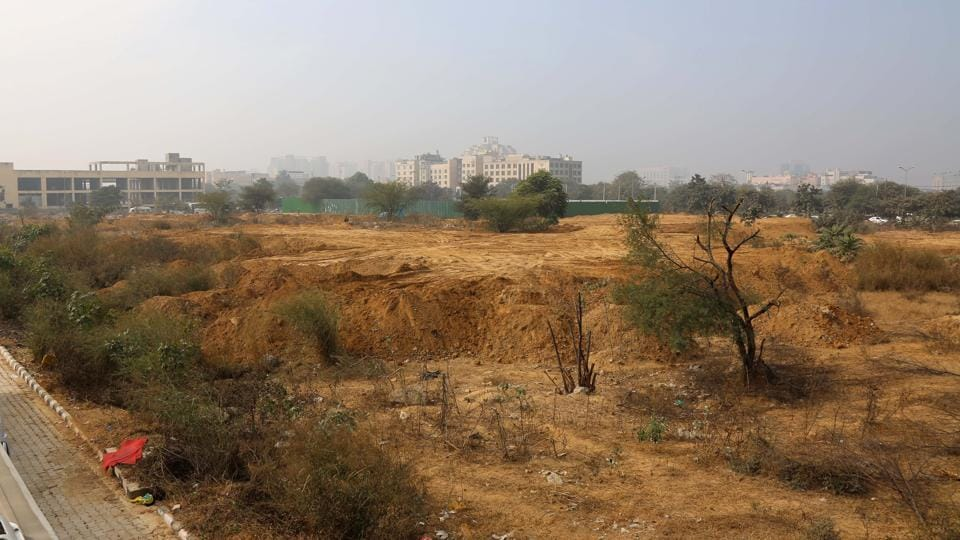 Gurgaon, India- January 18: Vacant land at Sector 29 in Gurgaon, India, on Wednesday, 18 January 2017. Gurgaon has started assessing the unplanned and undeveloped land in almost all the sectors developed by the authority.(Photo by Sanchit Khanna/Hindustan Times)