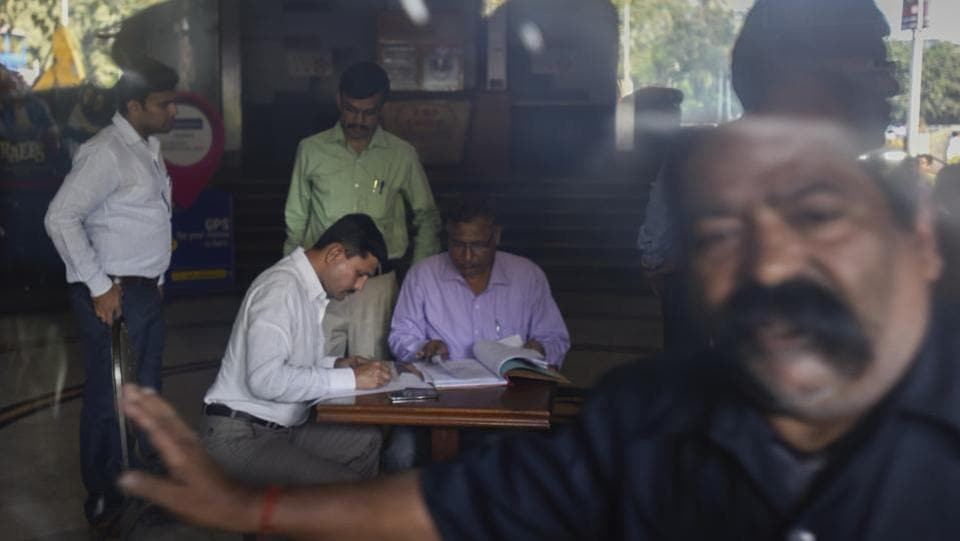 The Bombay high court, however, has directed the collector's office to unseal four of the 24 offices sealed in the building. The court order came following an urgent mention made by Galaxy Aviation Company, which occupies four office spaces inside the building. (kunal patil/ht photo)