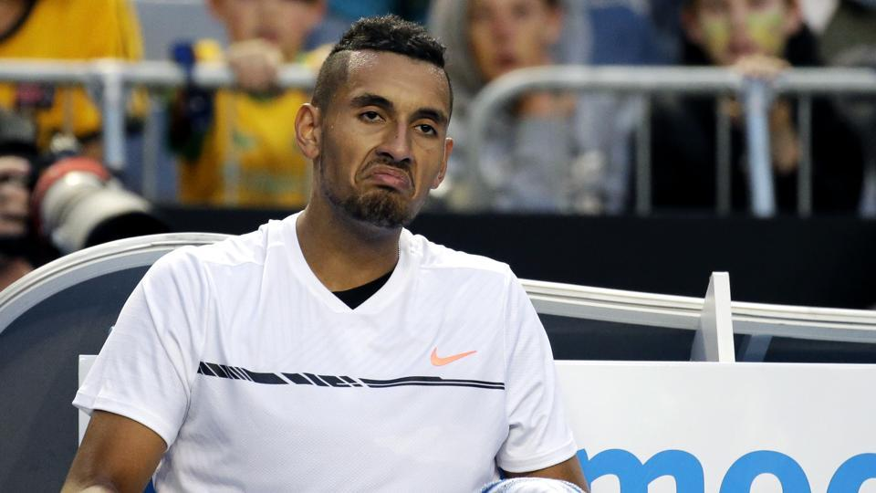 Nick Kyrgios of Australia continued his implosion after he lost in five sets to Italy's Andreas Seppi 1-6, 6-7 (1/7), 6-4, 6-2, 10-8. (AP)