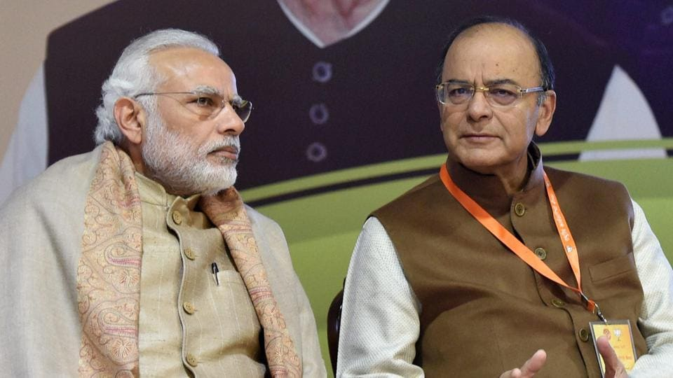 Prime Minister Narendra Modi with finance minister Arun Jaitley. The Union budget would be presented on February 1, the govt reaffirmed on Wednesday, without deterring to the pressure from the Opposition, ahead of the polls in five states.