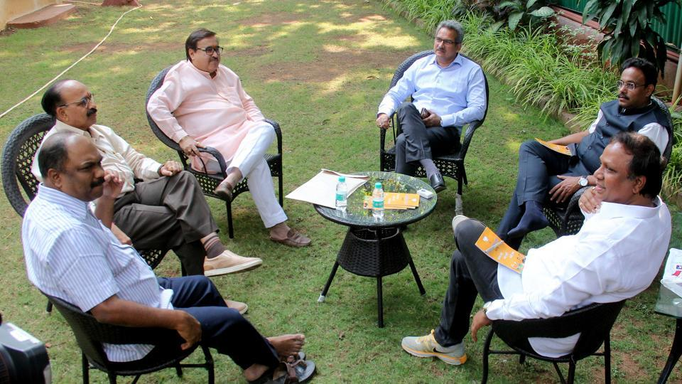 BJPand Shiv Sena leaders discuss seat sharing for the upcoming BMC elections, at state BJP president Raosaheb Danve's bungalow on Wednesday.