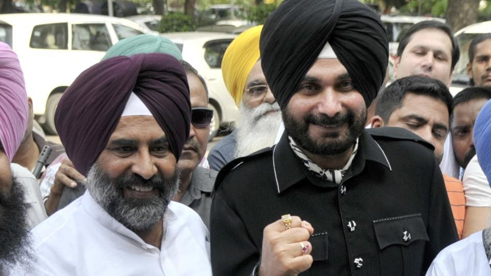 (L to R) Simrajeet Singh Bains, Olympian Pargat Singh, cricketer Navjot Singh Sidhu and Balwinder Singh Bains in Chandigarh. Pargat and Sidhu are among the former sportstars who are contesting the Punjab assembly polls.