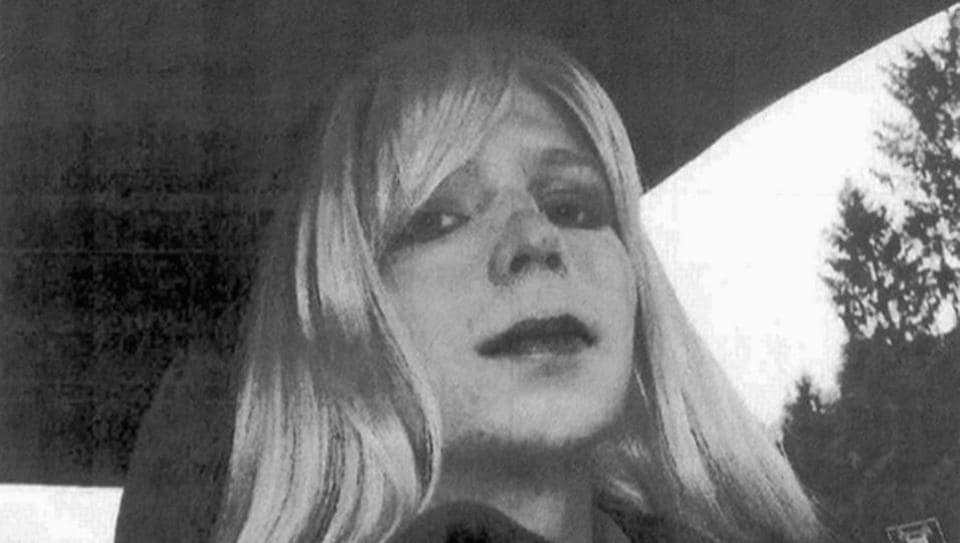 An undated file photo provided by the US Army in which Chelsea Manning is posing for a photo wearing a wig and lipstick.