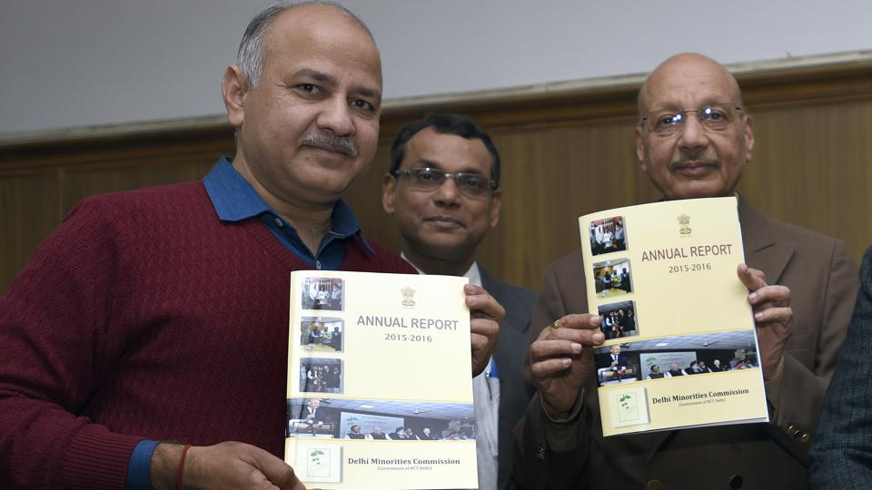Deputy CM Manish Sisodia (left) releases the annual report 2015-2016 with Delhi Minorities Commission chairman Qamar Ahmad at the Vidhan Sabha on Wednesday.