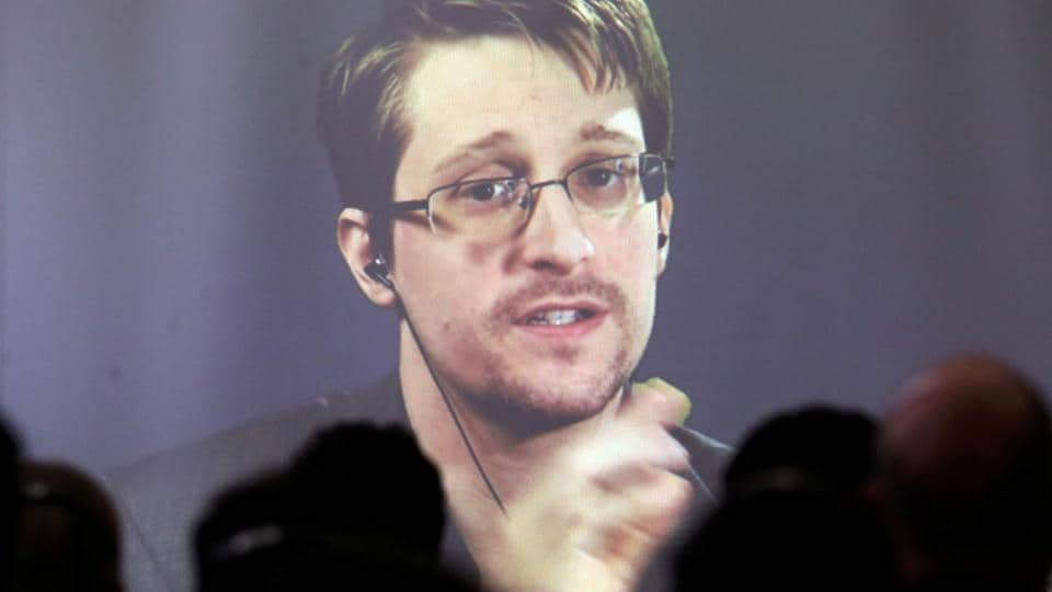 File photo of Edward Snowden speaking via video link during a conference at University of Buenos Aires Law School, Argentina, November 14, 2016.