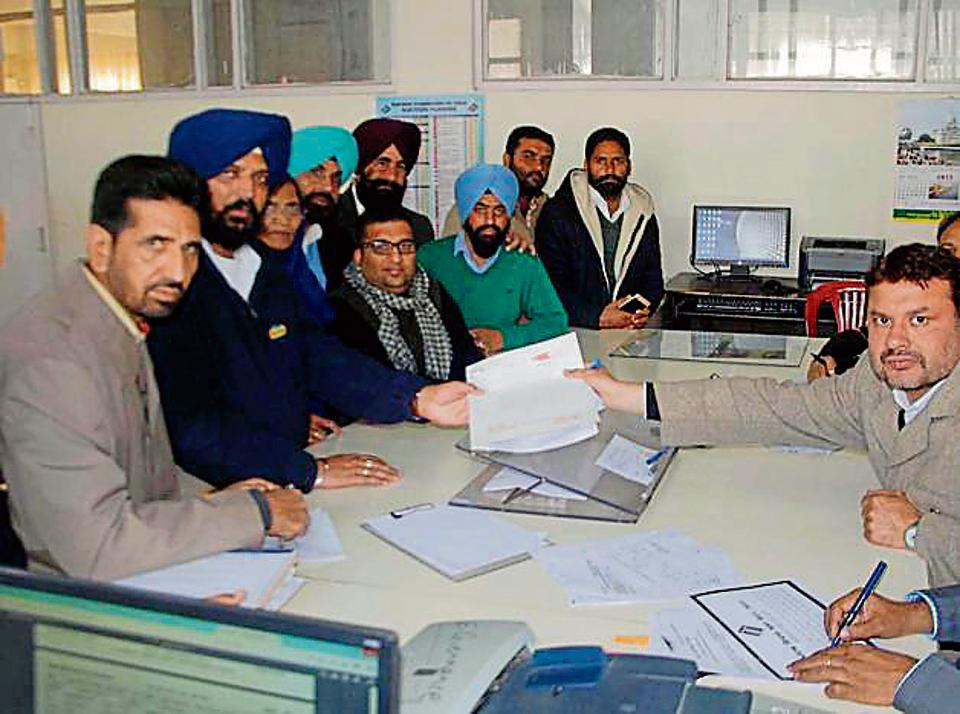 SAD Bhucho Mandi candidate Harpreet SIngh Kotbahi filing his papers in Bathinda on Wednesday.