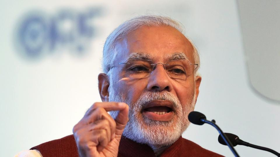 Prime Minister Narendra Modi speaks during the inauguration of the second edition of the Raisina Dialogue in New Delhi on Tuesday.