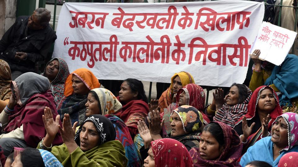 Residents of Kathputli colony protest against eviction, outside the Delhi Urban Shelter Improvement Board office at ITO in New Delhi.