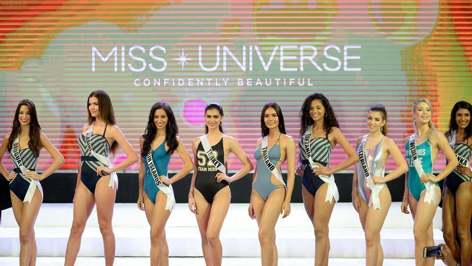 Miss Universe contestants participate in a swimwear fashion show in Cebu City, central Philippines on Tuesday.  (AFP)