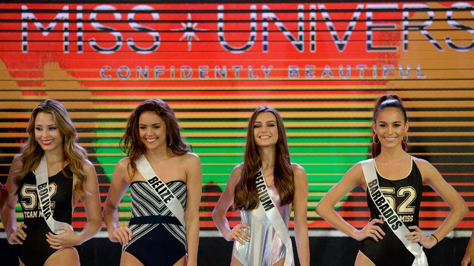 Miss Universe contestants participate in a swimwear fashion show in Cebu City, central Philippines. (AFP)