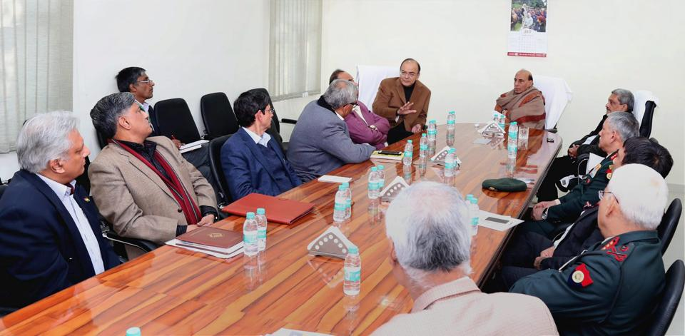 Union Home Minister Rajnath Singh chairing a meeting to review the situation in Manipur, in New Delhi on January 15, 2017.