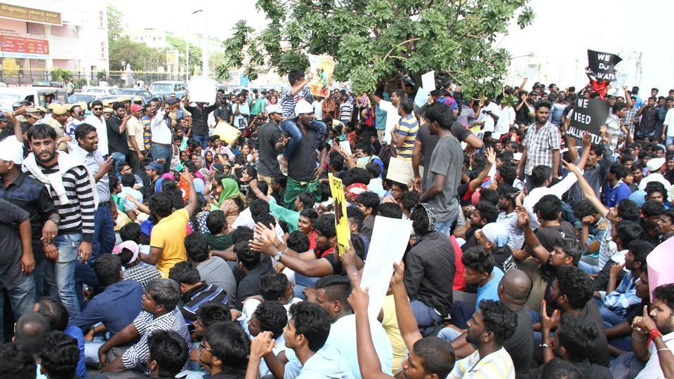 Jallikattu,Supreme Court,Protest at Marina Beach