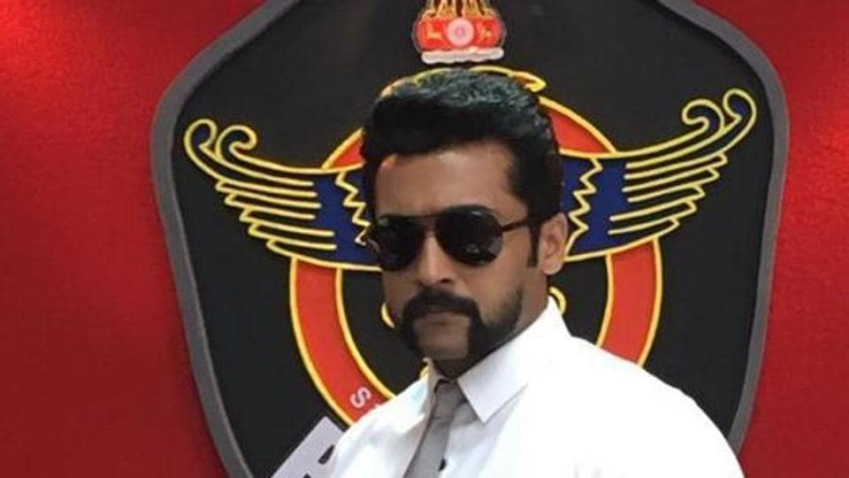 Suriya in SI3, which is the third part of his Singam franchise.