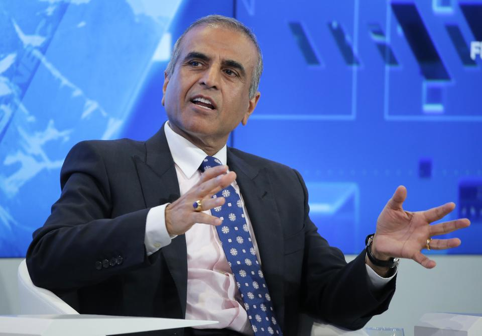 Chairman of Bharti Enterprises Sunil Bharti Mittal gestures as he speaks during a panel 'Size matters: The Future of Big Business' at the 'World Economic Forum' in Davos, Switzerland.
