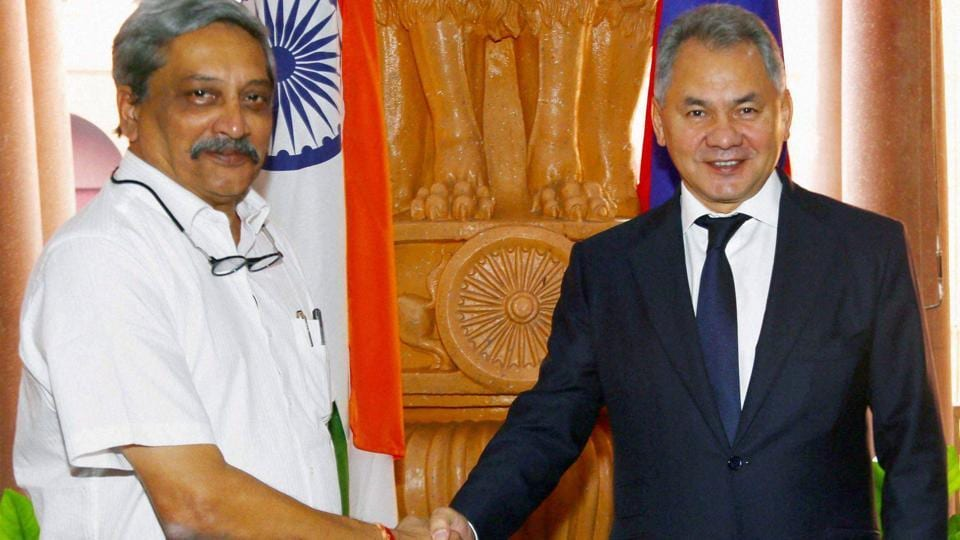 Union defence minister Manohar Parrikar shaking hands with his Russian counterpart General Sergei Shoigu at the 16th meeting of the India-Russia Intergovernmental Commission on Military-Technical Cooperation (IRIGC-MTC) in New Delhi on Oct 26, 2016.