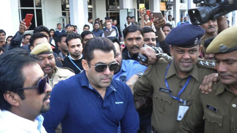 Film Actor Salman khan's arrives at airport in Jodhpur.
