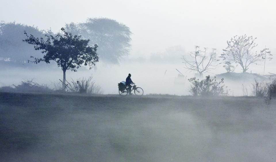 A cyclist makes his way through early morning fog on a cold wintry day on the banks of the Yamuna river in New Delhi.  (Ravi Choudhary/HT PHOTO)