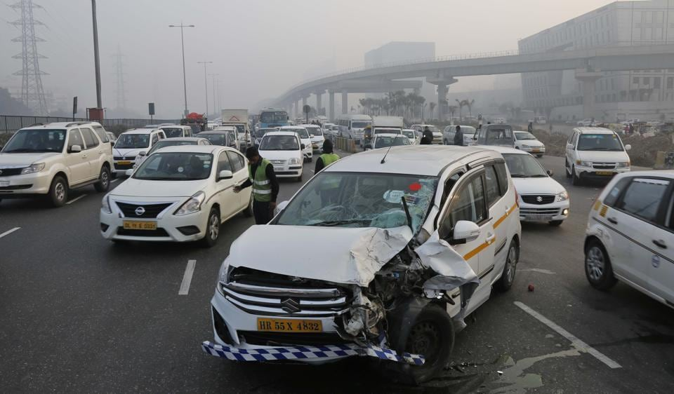 Traffic was disrupted briefly at Shankar chowk when two cars collided on the Delhi-Gurgaon expressway (NH8) on Wednesday morning.