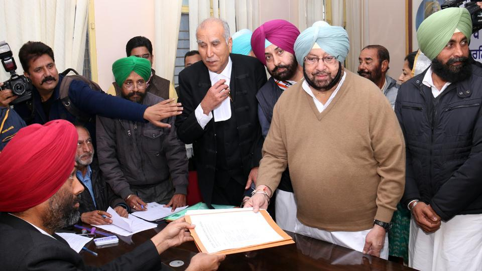 Captain Amarinder Singh filing his nomination papers from Lambi  against Parkash Singh Badal, on Wednesday.