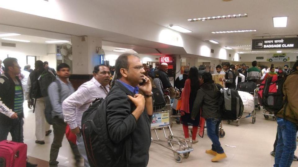 Passengers at Patna airport.