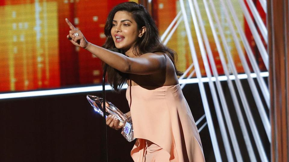Priyanka Chopra accepts the award for favourite TV Drama Actress at the People's Choice Awards 2017 in Los Angeles. (Reuters)
