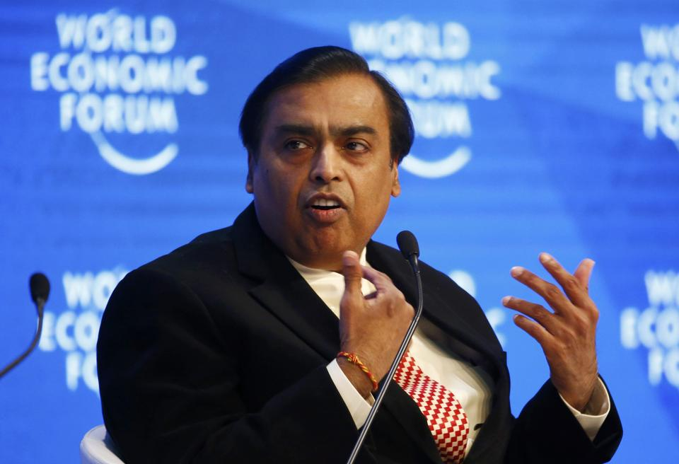 Mukesh Ambani, Chairman and Managing Director of Reliance Industries attends the annual meeting of the World Economic Forum (WEF) in Davos, Switzerland