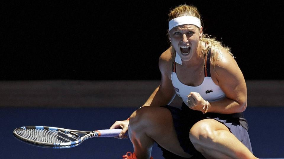 Slovakia's Dominika Cibulkova celebrates her win over Taiwan's Hsieh Su-Wei in their second round match at the Australian Open. (AP)