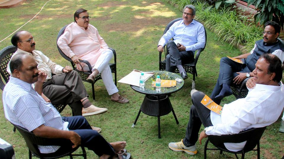 BJP-Shiv Sena leaders meet to discuss about their alliance for the upcoming BMC election at Raosaheb Danve's bungalow in Mumbai on Wednesday.