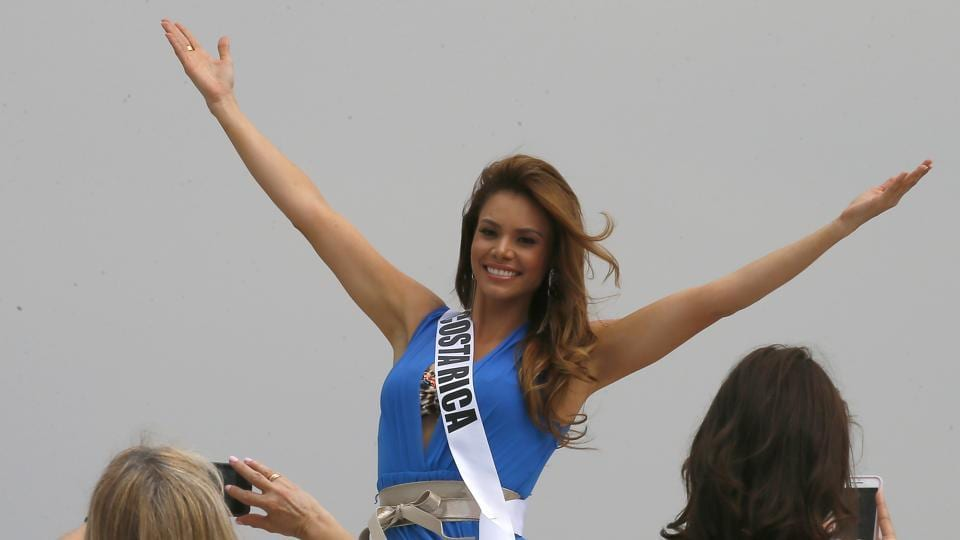 Miss Universe contestant Carolina Duran of Costa Rica poses from the yacht Happy Life. (AP)