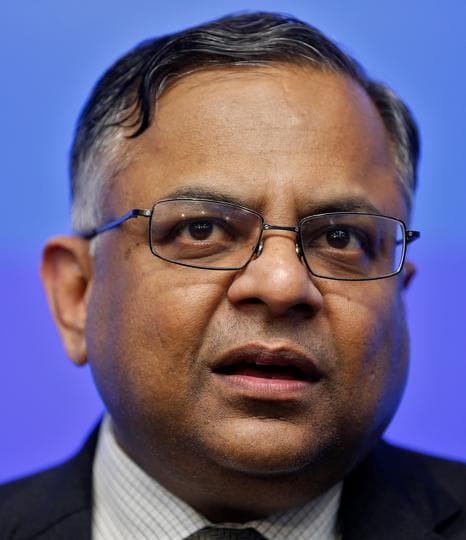 Tata Sons chairman designate Natarajan Chandrasekaran speaks during for a news conference in Mumbai