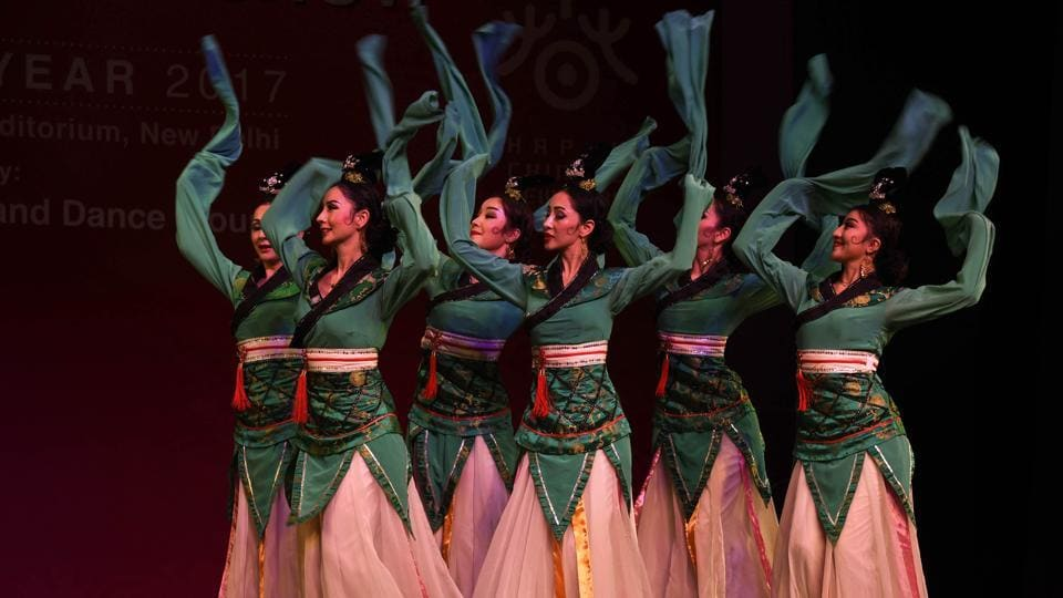 Artists from Xinjiang Art Theatre song and Dance troupe perform Group Stomping Dance.  Established in 1949, Xinjiang Art Theater Song and Dance Troupe has been dedicating its full efforts to creating top quality theater art works by absorbing rich culture and art resources in China and taking in innovative modern art elements. (Arvind Yadav/HT PHOTO)