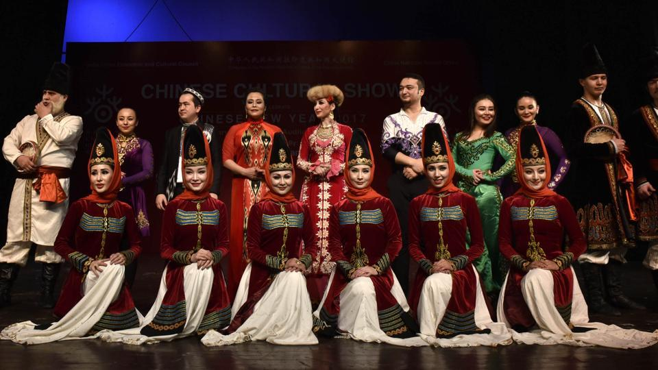 Members of Xinjiang Art Theatre song and Dance troupe pose for a photo at the end of the event.  When asked, Mr. Zhang Zhihong, Cultural Counsellor, Embassy of China in India said that Chinese New Year is one of the most important traditional festivals in China and now is getting popular in many parts of the world. We are happy to share the joy of this traditional festival with Indian friends and for this purpose we bring Xinjiang Art Theater Song and Dance Troupe this year to India. I believe it will make Indian people know more about the diversified and rich culture of China, thus further deepening cultural cooperation and exchange between our two great countries (Arvind Yadav/HT PHOTO)
