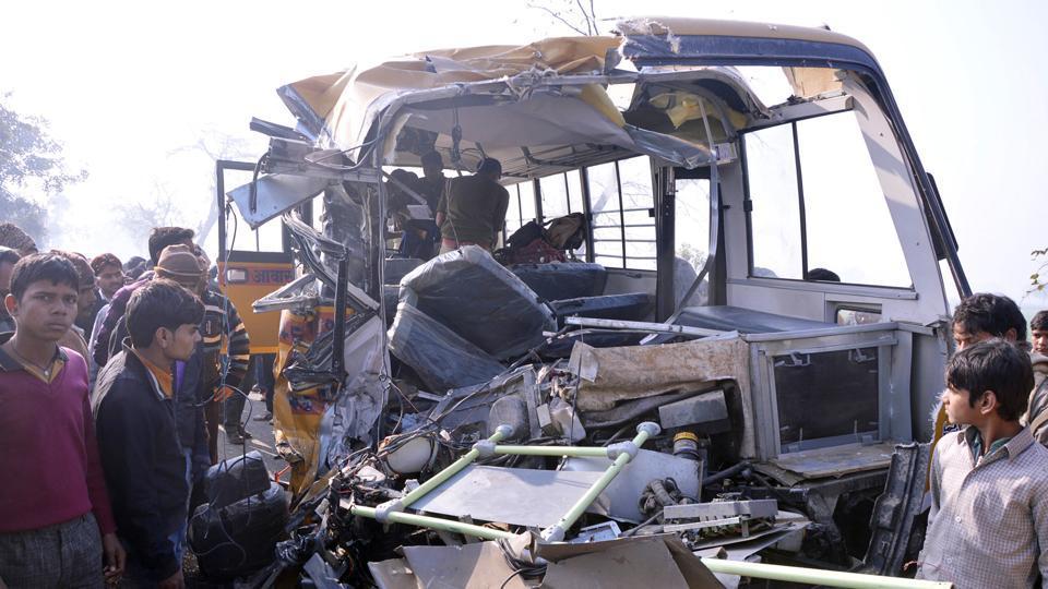 School children killed as bus collides with truck in Uttar Pradesh's Etah.