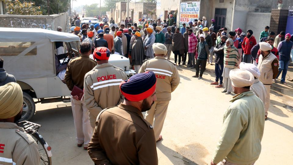 Police force was deployed in Bhai Bakhtaur village as residents gathered in protest on Thursday.