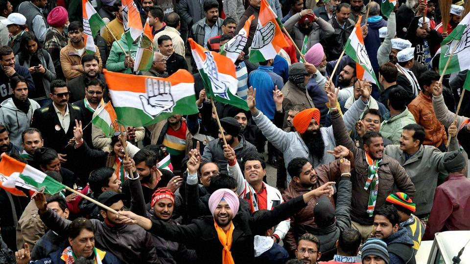 Congress workers rally as candidates file nomination papers for Punjab assembly elections 2017 in Jalandhar.