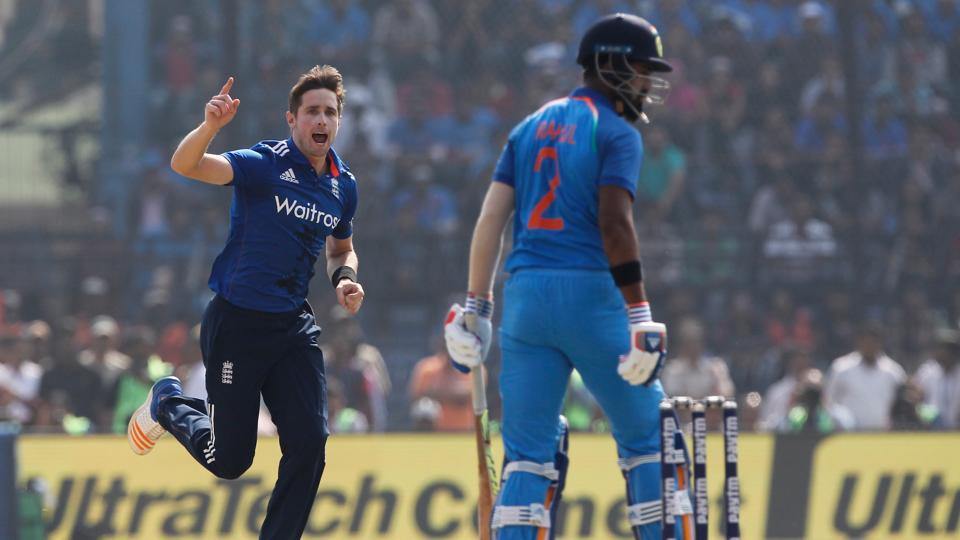 Chris Woakes of England celebrates the wicket of KL Rahul of India during the second One Day International match. (BCCI)