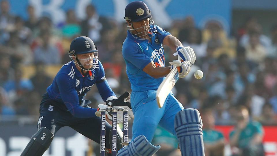 Mahendra Singh Dhoni bats during the second One Day International match between India and England. (BCCI)