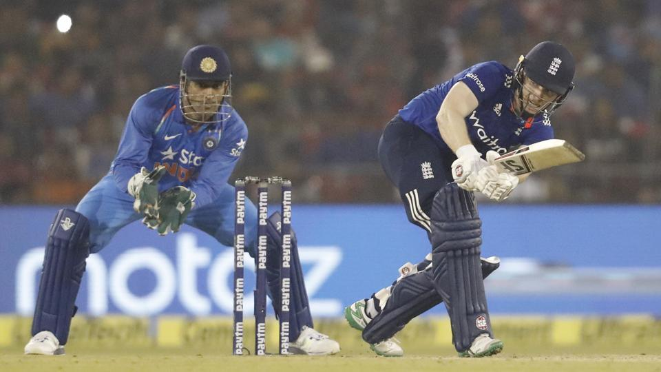 England's Eoin Morgan plays a shot during the second One Day International match against India. (BCCI)