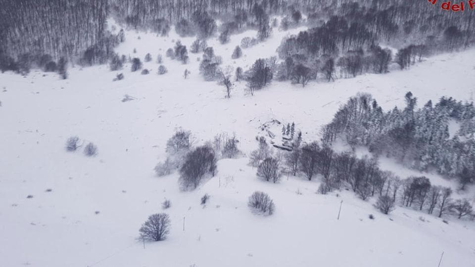 An aerial view shows Hotel Rigopiano in Farindola, central Italy, hit by an avalanche, in this January 19 handout picture provided by Italy's Firefighters.