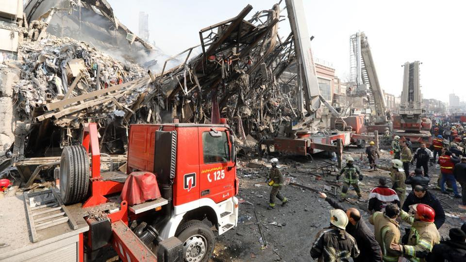 The fire spread through the building in the early hours of Thursday, despite efforts by Tehran fire fighters to put out the blaze, Iranian state news agency IRNA reported, adding that Plasco Trade Centre was the biggest in the Iranian capital. (AFP)