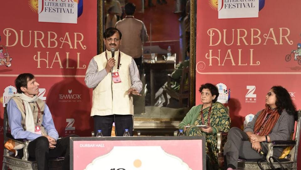 L to R) Philip A. Lutgendorf, Nand Kishore Pandey, Divya Mathur and Anu Singh Choudhary during a session at the Jaipur Literature Festival 2017 on Thursday.
