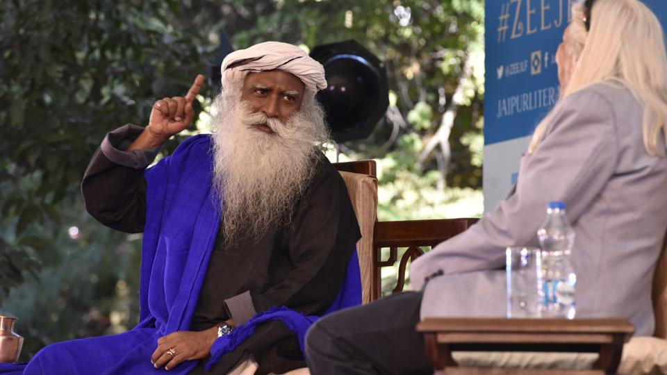 Sadhguru in conversation with JLF Festival Producer Sanjoy K. Roy during the session, Inner Engineering: A Yogi's guide to Joy, at the Jaipur Literature Fest 2017 in Jaipur.