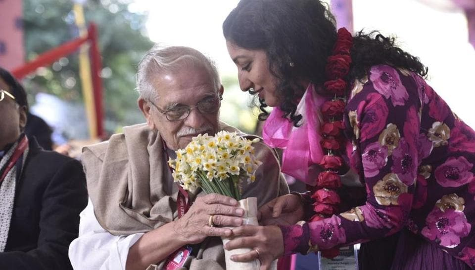 Poet, lyricist and film director Gulzar during Jaipur Literature Festival.  (Saumya Khandelwal / HT Photo)