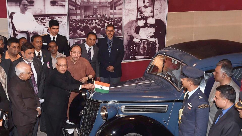 President Pranab Mukherjee with the historic Wanderer car in which Sisir Kumar Bose drove Netaji Subhas Chandra Bose in January 1941, at Netaji Bhavan in Kolkata on Wednesday.