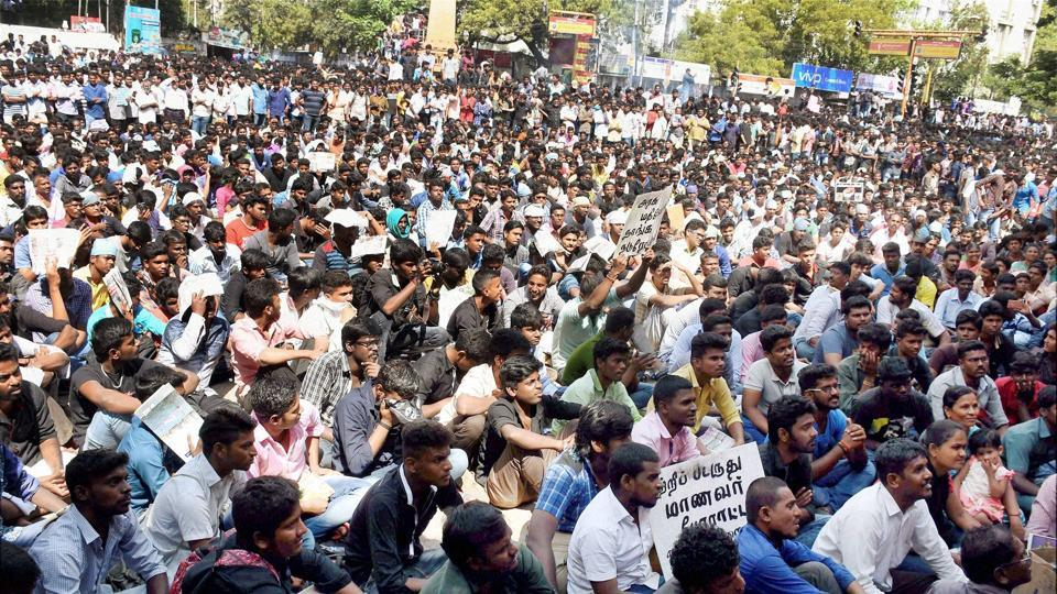 Youngsters stage a protest condemning the Jallikattu ban in Madurai on Thursday.